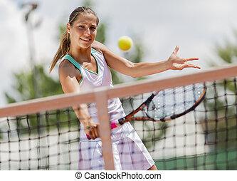 nő, tenisz, fiatal, játék