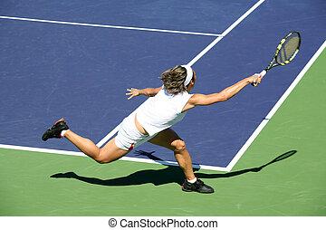 nő, tenisz, játék