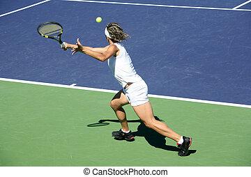 nő, tenisz