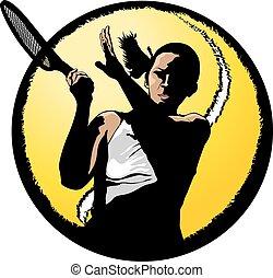 nő, teniszjátékos, closeup, alatt, labda