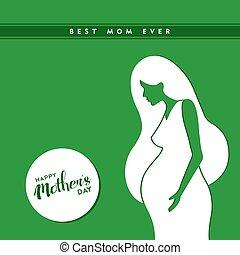 nő, terhes, anyák, ábra, nap, boldog