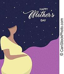 nő, terhes, anya nap, kártya, boldog