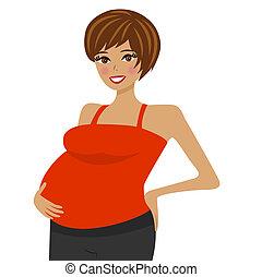 nő, terhes, fiatal