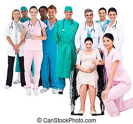 nő, terhes, orvosi, ápoló, tolószék, bot