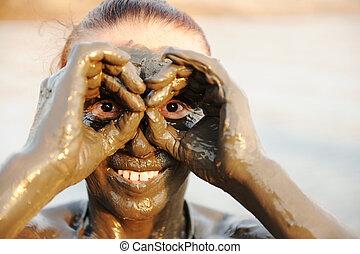 nő, természetes, ásvány, sourced, öregedő, arc, sár, holt, ...