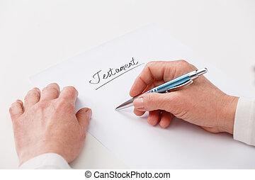 nő, testamentum, öregedő, írás