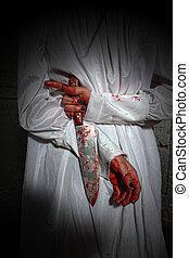 nő, themed, vérzés, horror, megijedt, kép