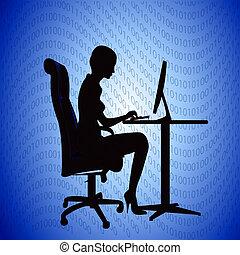 nő, titkár, számítógép, nyomtatványok, árnykép