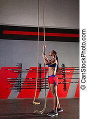 nő, tréning, odaköt, mászik, tornaterem, gyakorlás