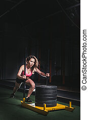 nő, tréning, rámenős, szánkó, mér, tol, gyakorlás