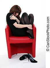 nő, után, feláll, rossz, szék, nap, göndörített