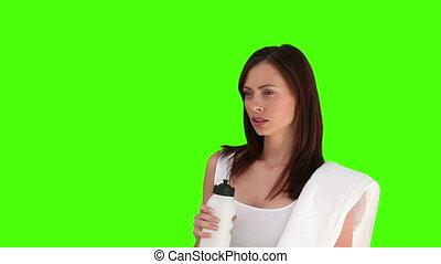 nő, után, víz, meglehetősen, ivás, sport