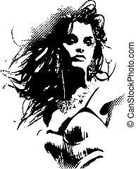 nő, váratlanul rajzóra, poszter