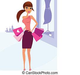 nő, város, bevásárlás