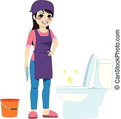 nő, vécé, takarítás