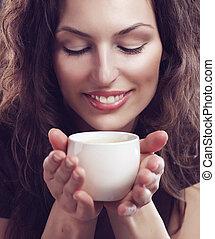 nő, vagy, szépség, tea csésze, kávécserje