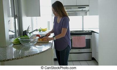 nő, vaskos, növényi, alatt, konyha, 4k