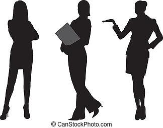 nő, vektor, árnykép, ügy