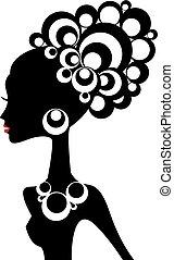 nő, vektor, fekete