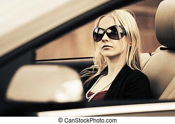 nő, vezetés, autó, fiatal, mód, átváltható
