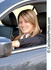 nő, vezetés, neki, autó