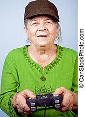 nő, video játék, idősebb ember, játék, boldog