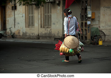 nő, vietnam., árucikk, szállítás, utca, hanoi