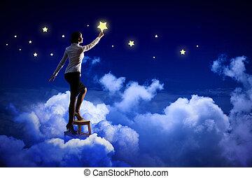 nő, világítás, csillaggal díszít