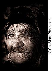 nő, világtalan, öreg