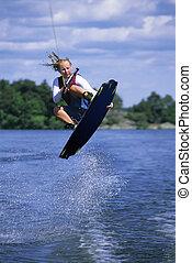 nő, waterskiing
