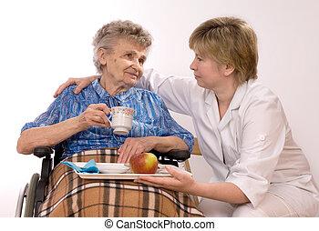 nő, wheelcha, öregedő