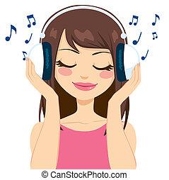 nő, zene hallgat