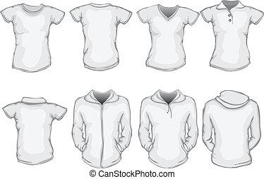 női, állhatatos, ing, sablon