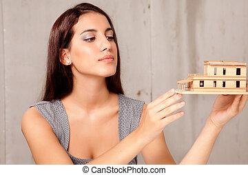 női, építészmérnök, noha, épület, formál
