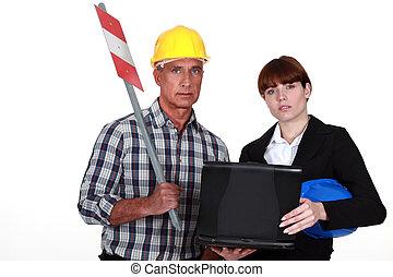 női, építészmérnök, noha, szerkesztés munkás