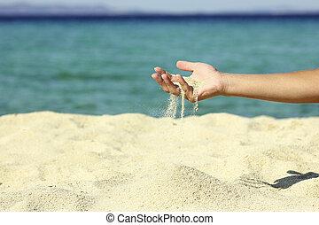 női, ömlik, kéz, homok