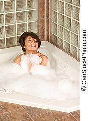 női, bágyasztó, alatt, hab, fürdőkád