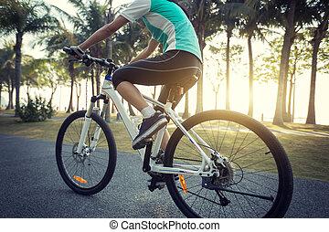 női, biciklista, elnyomott bicikli, alatt, tropikus, liget