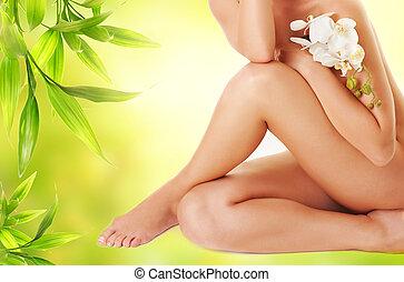 női, combok, noha, fehér, orhidea