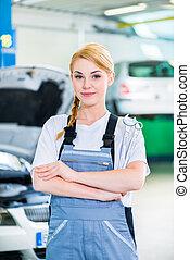 női, dolgozó, autó, műhely, szerelő, autó