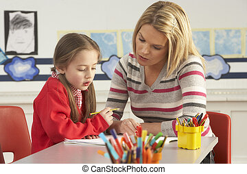 női, elemi iskola, szembogár, és, tanár, munka asztal, alatt, osztályterem
