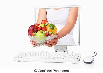 női, ellenző, gyümölcs, kéz, számítógép, birtok, jön jön