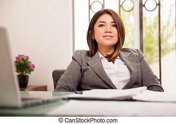 női, főnök, ülés, alatt, neki, hivatal