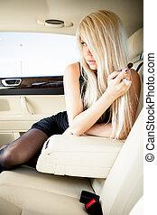női fehérnemű, alatt, egy, luxury autó