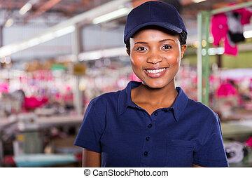 női, felöltöztet gyár, munkás, portré