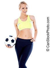 női, foci játékos, birtok, egy, labda