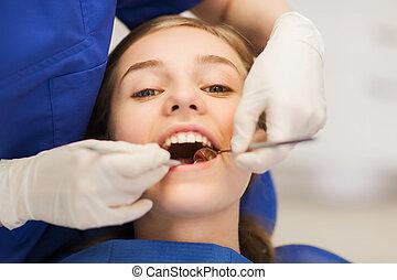 női, fogász, átvizsgálás, türelmes, leány, fog