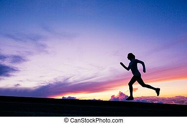 női, futó, árnykép, futás, bele, napnyugta
