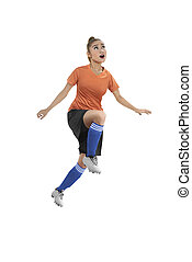 női, futball játékos, fejes