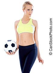 női, futball játékos, feltevő, noha, labda